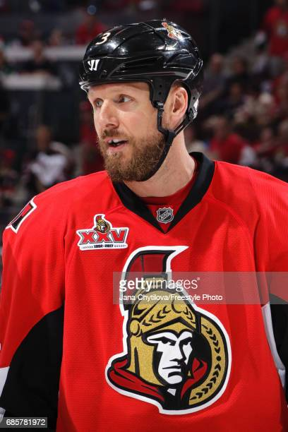 Marc Methot of the Ottawa Senators looks on against the Pittsburgh Penguins in Game Three of the Eastern Conference Final during the 2017 NHL Stanley...