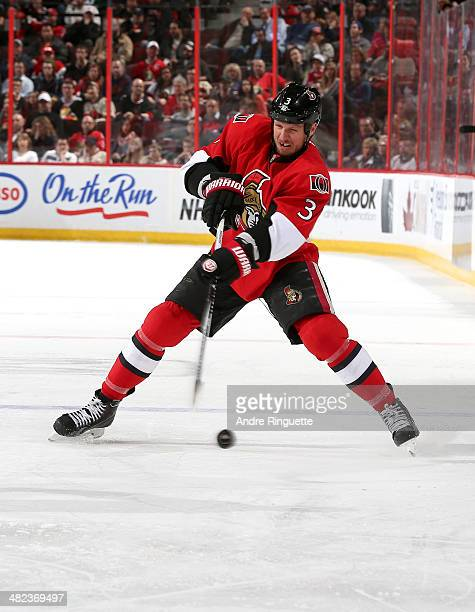 Marc Methot of the Ottawa Senators skates against the Carolina Hurricanes at Canadian Tire Centre on March 31 2014 in Ottawa Ontario Canada