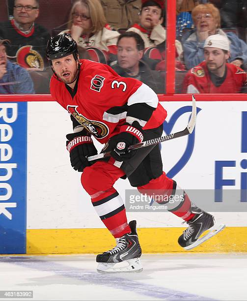 Marc Methot of the Ottawa Senators skates against the Columbus Blue Jackets at Canadian Tire Centre on February 7 2015 in Ottawa Ontario Canada