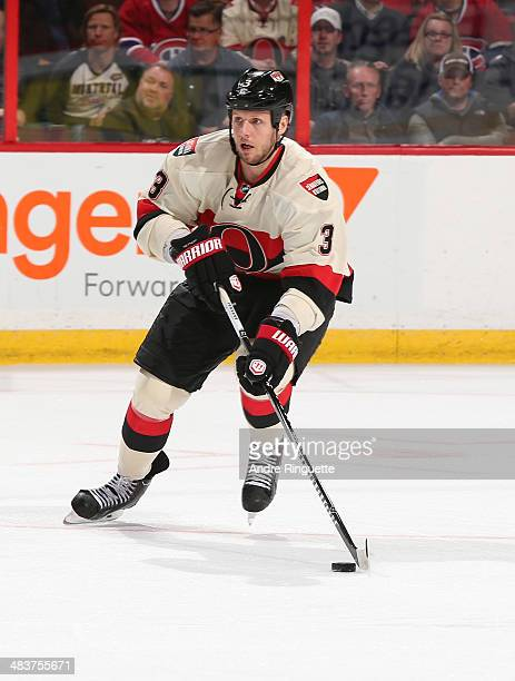 Marc Methot of the Ottawa Senators skates against the Montreal Canadiens at Canadian Tire Centre on April 4 2014 in Ottawa Ontario Canada