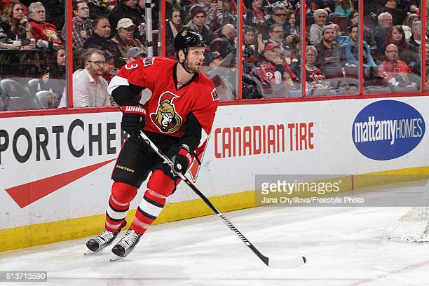 Marc Methot of the Ottawa Senators skates against the St Louis Blues during an NHL game at Canadian Tire Centre on March 1 2016 in Ottawa Ontario...