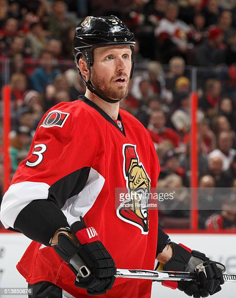 Marc Methot of the Ottawa Senators skates against the St Louis Blues at Canadian Tire Centre on March 1 2016 in Ottawa Ontario Canada