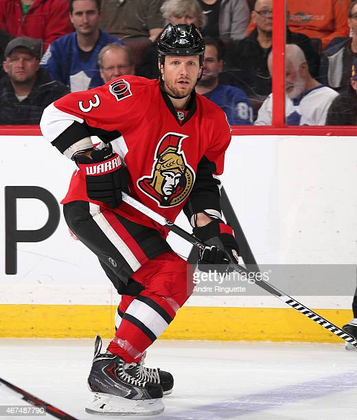 Marc Methot of the Ottawa Senators skates against the Toronto Maple Leafs at Canadian Tire Centre on March 21 2015 in Ottawa Ontario Canada
