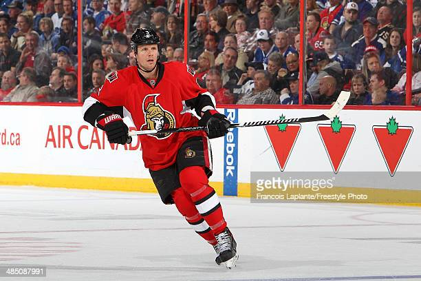 Marc Methot of the Ottawa Senators skates against the Toronto Maple Leafs on April 12 2014 at Canadian Tire Centre in Ottawa Ontario Canada
