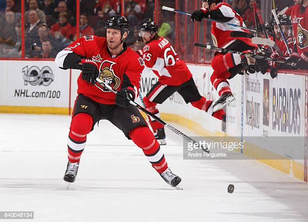 Marc Methot of the Ottawa Senators skates against the Washington Capitals at Canadian Tire Centre on January 24 2017 in Ottawa Ontario Canada