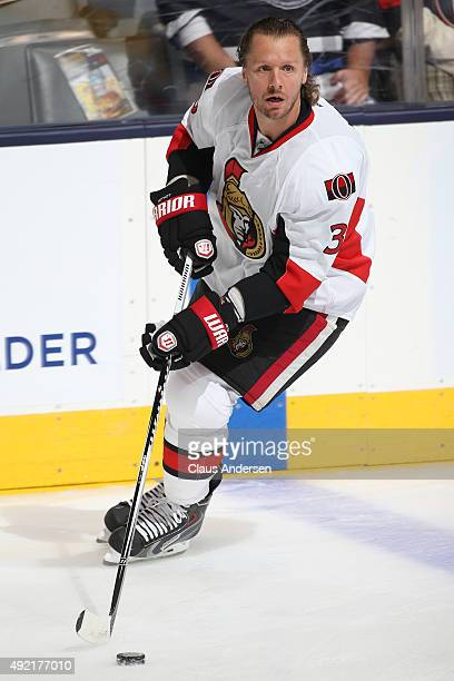Marc Methot of the Ottawa Senators skates during the warmup prior to play against the Toronto Maple Leafs in an NHL game at the Air Canada Centre on...