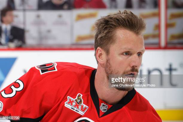 Marc Methot of the Ottawa Senators skates during warmups prior to a game against the Boston Bruins in Game Two of the Eastern Conference First Round...