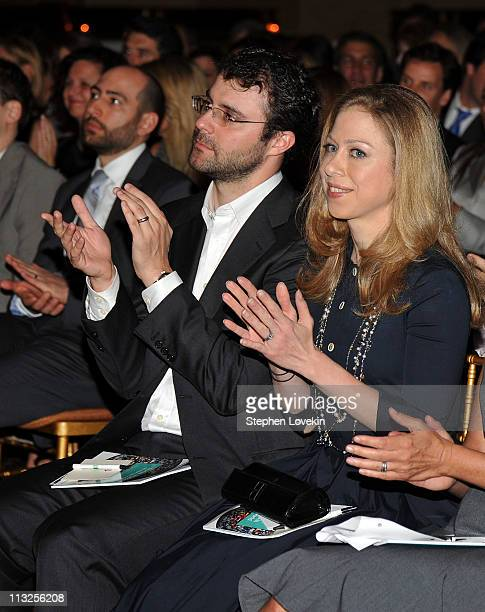 Marc Mezinsky and Chelsea Clinton attend the 7th Annual Common Sense Media Awards honoring Bill Clinton at Gotham Hall on April 28 2011 in New York...