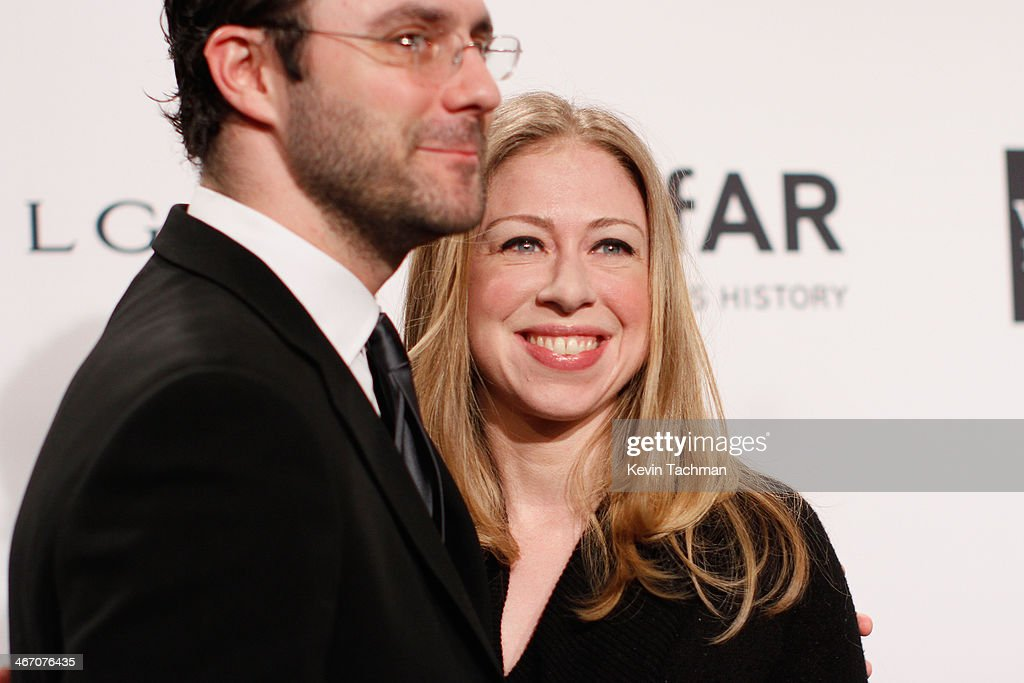 Marc Mezvinsky and Chelsea Clinton attend the 2014 amfAR New York Gala at Cipriani Wall Street on February 5, 2014 in New York City.