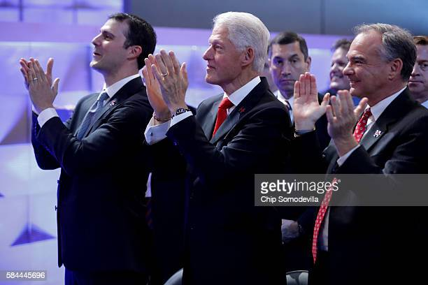 Marc Mezvinsky Former US President Bill Clinton and US Vice President nominee Tim Kaine applaud as Chelsea Clinton arrives on stage to introduce her...