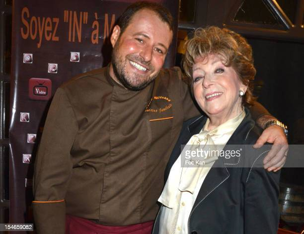 Marc Mitonne and Marthe Mercadier attend the 'Les 10 Ans de Marc Mitonne' Party Hosted by '2 Mains Rouges' at the Marc Mitonne Restaurant on October...