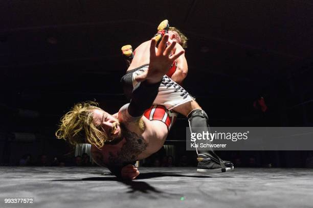 Marc Morales fights Jason Brody during the Ultimate Championship Wrestling Anarchy Rules on July 7 2018 in Christchurch New Zealand