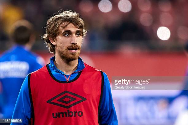 Marc Muniesa of Girona FC looks on during the prematch warm up before the La Liga match between Girona FC and Real Sociedad at Montilivi Stadium on...