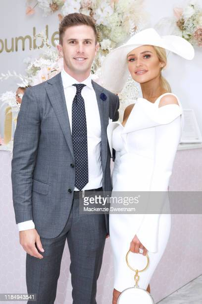 Marc Murphy and Jessie Murphy attend the Bumble marquee during Derby Day at Flemington Racecourse on November 02, 2019 in Melbourne, Australia.