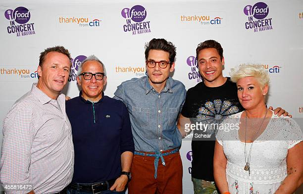 Marc Murphy Geoffrey Zakarian John Mayer Jeff Mauro and Anne Burrell attend Food Network In Concert on September 20 2014 in Chicago United States