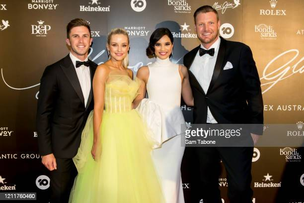 Marc Murphy, Jessie Murphy , Priya Serrao and Sam Groth attends the Glamour On The Grid party on March 11, 2020 in Melbourne, Australia.