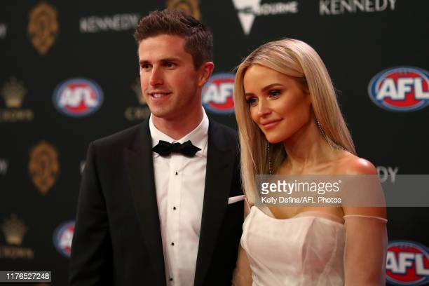 Marc Murphy of the Blues and Jessie Murphy arrive ahead of the 2019 Brownlow Medal at Crown Palladium on September 23, 2019 in Melbourne, Australia.