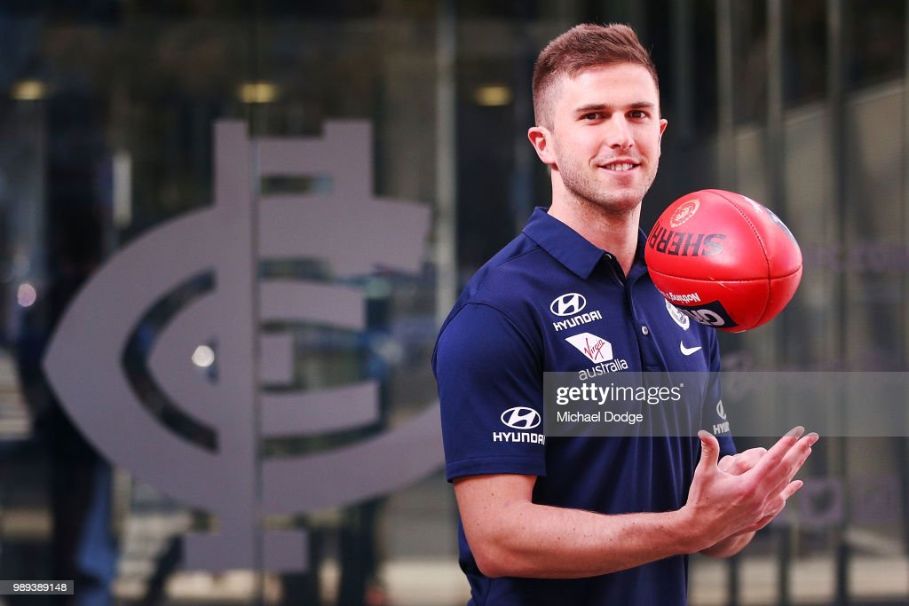 Marc Murphy of the Carlton Blues poses during a media opportunity at Ikon Park on July 2, 2018 in Melbourne, Australia.