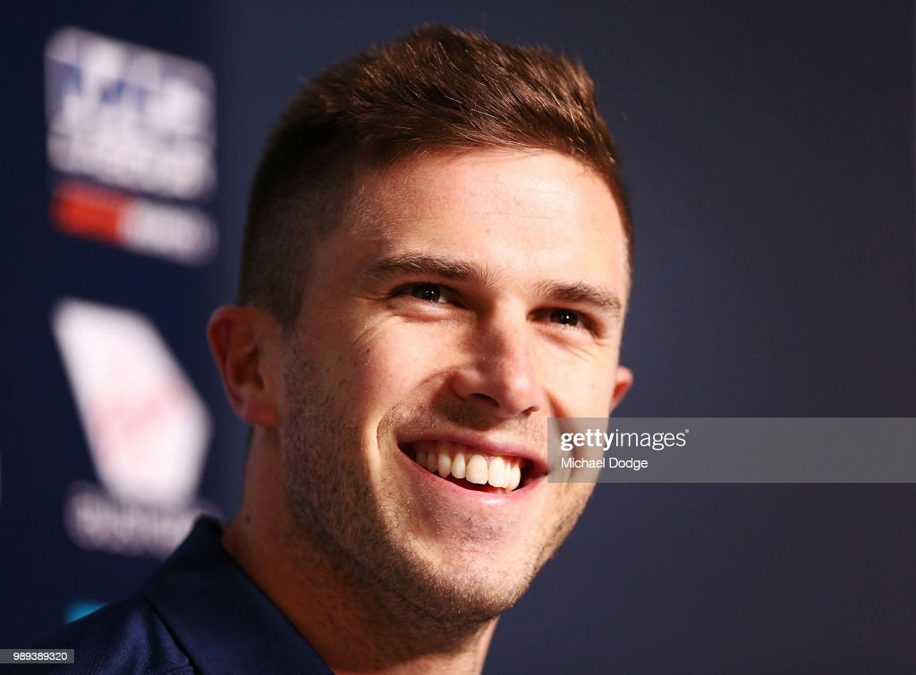 Marc Murphy of the Carlton Blues speaks to the media during a media opportunity at Ikon Park on July 2, 2018 in Melbourne, Australia.