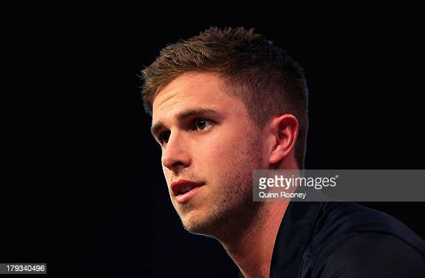 Marc Murphy the captain of the Blues speaks to the media during a Carlton Blues AFL Finals Series Launch Media Session at Fox Sports on September 2,...