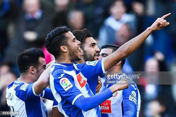 Marc Navarro of RCD Espanyol celebrates with his team mates after scoring his team's second goalduring the La Liga match between RCD Espanyol and...