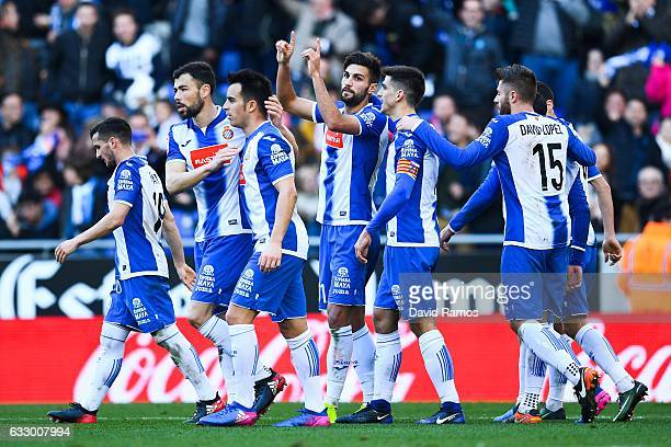 Marc Navarro of RCD Espanyol celebrates with his team mates after scoring his team's second goalduring the La Liga match between RCD Espanyol and...