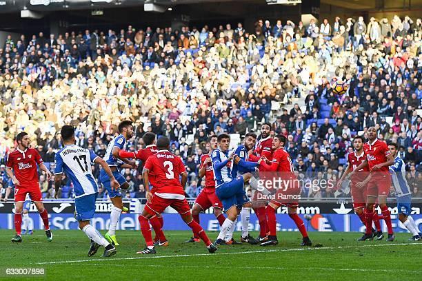 Marc Navarro of RCD Espanyol scores his team's second goal during the La Liga match between RCD Espanyol and Sevilla FC at CornellaEl Prat stadium on...