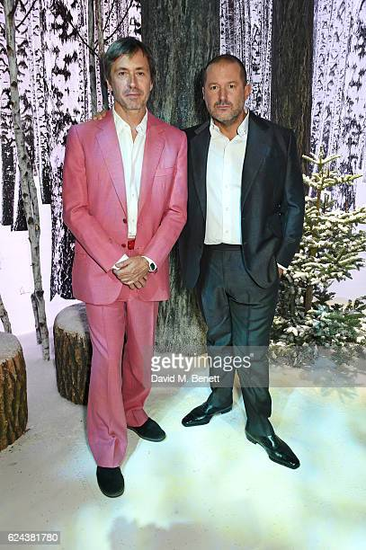 Marc Newson and Sir Jony Ive attend Claridge's Christmas Tree 2016 Party with tree which they designed together at Claridge's Hotel on November 19...