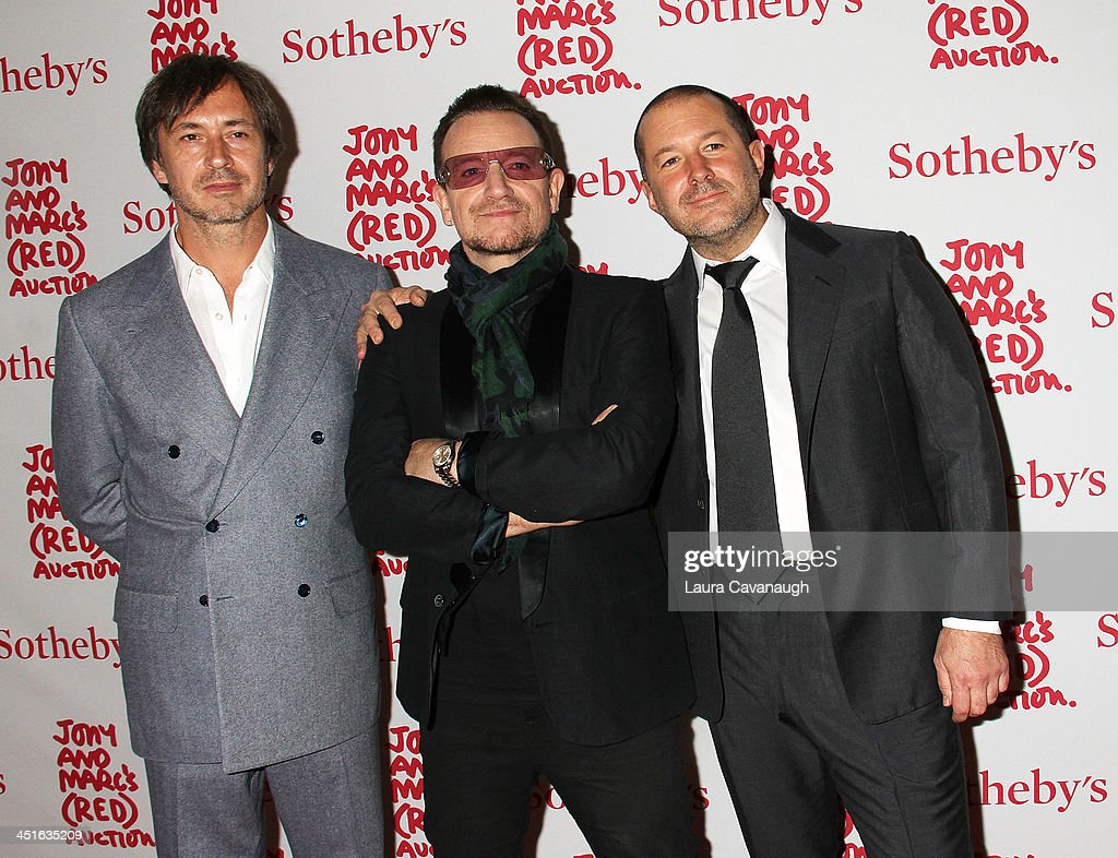 Marc Newson, Bono and Jonathan Ive attend 2013 (RED) Auction Celebrating Masterworks Of Design and Innovation on November 23, 2013 in New York City.