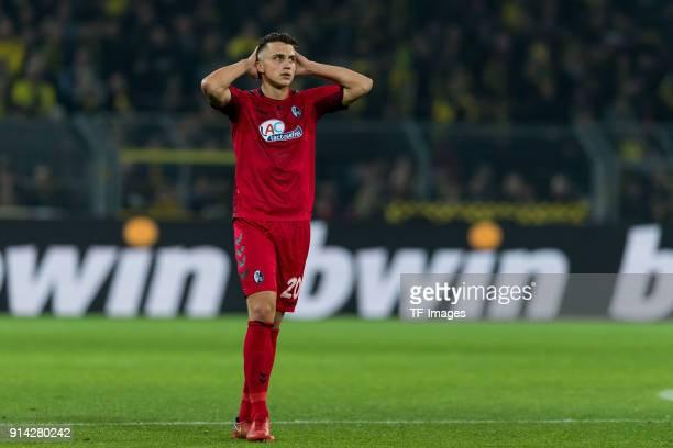 Marc Oliver Kempf of Freiburg gestures during the Bundesliga match between Borussia Dortmund and SportClub Freiburg at Signal Iduna Park on January...