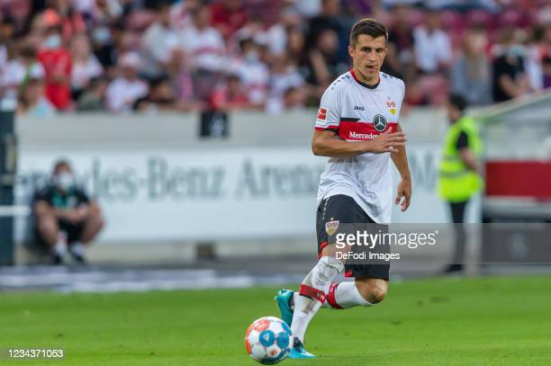 Marc Oliver Kempf of VfB Stuttgart controls the Ball during the Pre-Season Friendly match between VfB Stuttgart and FC Barcelona at Mercedes-Benz...