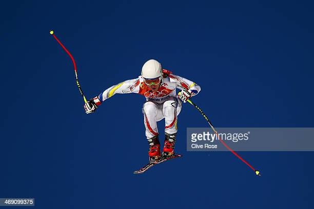 Marc Oliveras of Andorra in action during a training session for the Alpine Skiing Men's Super Combined Downhill on day 6 of the Sochi 2014 Winter...