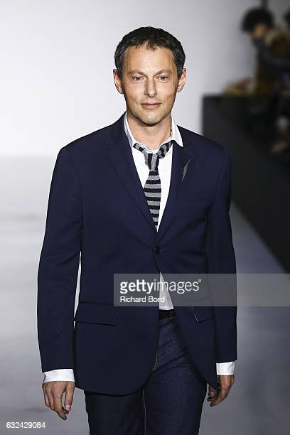 Marc Olivier Fogiel walks the runway during the Agnes B Menswear Fall/Winter 20172018 show as part of Paris Fashion Week on January 22 2017 in Paris...