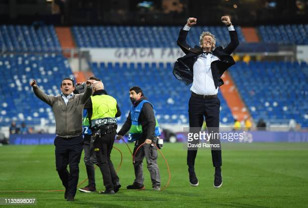 Marc Overmars and Edwin van der Sar celebrate victory after the UEFA Champions League Round of 16 Second Leg match between Real Madrid and Ajax at...