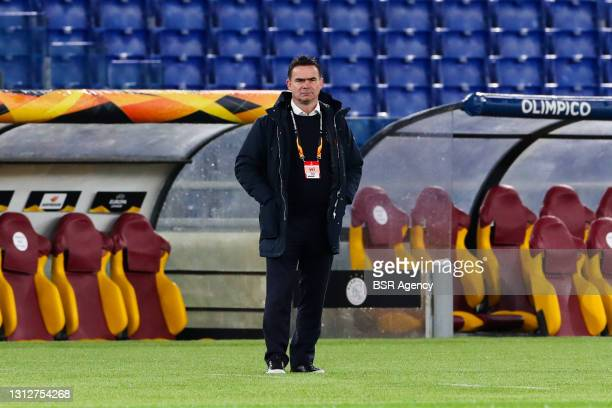 Marc Overmars of Ajax during the UEFA Europa League Quarter Final: Leg Two match between AS Roma and Ajax at Stadio Olimpico on April 15, 2021 in...