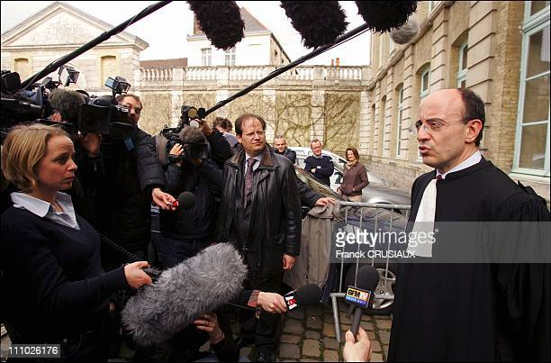 Marc Pantaloni attorney of the children answers questions of journalists after the verdict at the last day of the DangerVandervelde child abuse and...