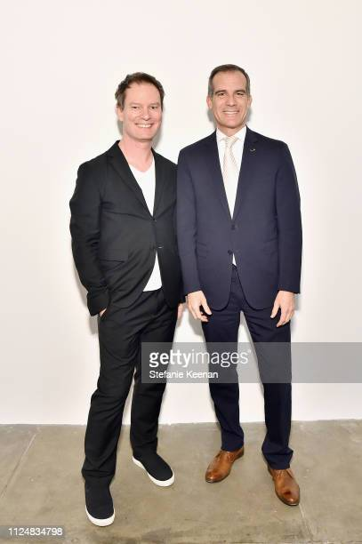 Marc Payot and Mayor Eric Garcetti attend Hauser Wirth Los Angeles Opening of Annie Leibovitz and Piero Manzoni and Musical Performance by Patti...