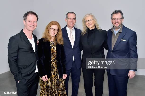 Marc Payot Manuela Wirth Eric Garcetti Annie Leibovitz and Iwan Wirth attend Hauser Wirth Los Angeles Opening of Annie Leibovitz and Piero Manzoni...