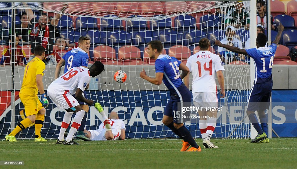 Marc Pelosi #15 of the United States (C) scores the winning goal in the 2nd half of their game against Canada during the third place CONCACAF Olympic Qualifying match at Rio Tinto Stadium on October 13, 2015 in Sandy, Utah. The United States beat Canada 2-0.