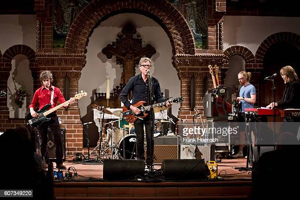 Marc Perlman Gary Louris and Karen Grotberg of the American band The Jayhawks perform live during a concert at the Passionskirche on September 17...