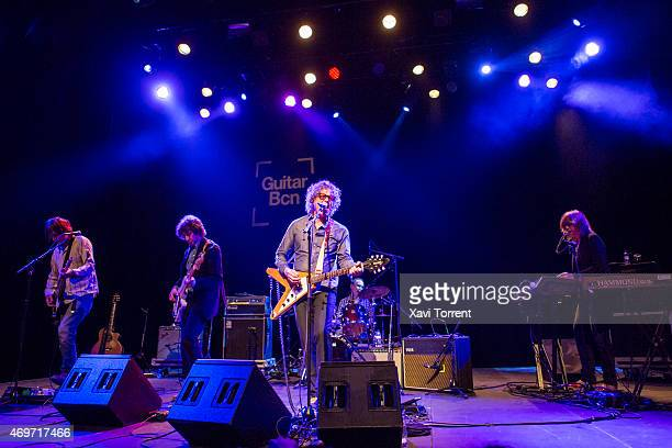 Marc Perlman Gary Louris and Karen Grotberg of The Jayhawks perform in concert at Sala Barts on April 14 2015 in Barcelona Spain