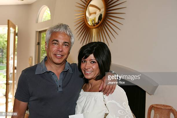 Marc Pollock and Michelle Marquez attend the Trigg Ison Fine art exhibit for the work of Maxine Kim StussyFrankel at her home June 28 2008 in Los...