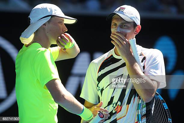 Marc Polmans and Andrew Whittington of Australia compete against Henri Kontinen of Finland and John Peers of Australia in their doubles semifinal...