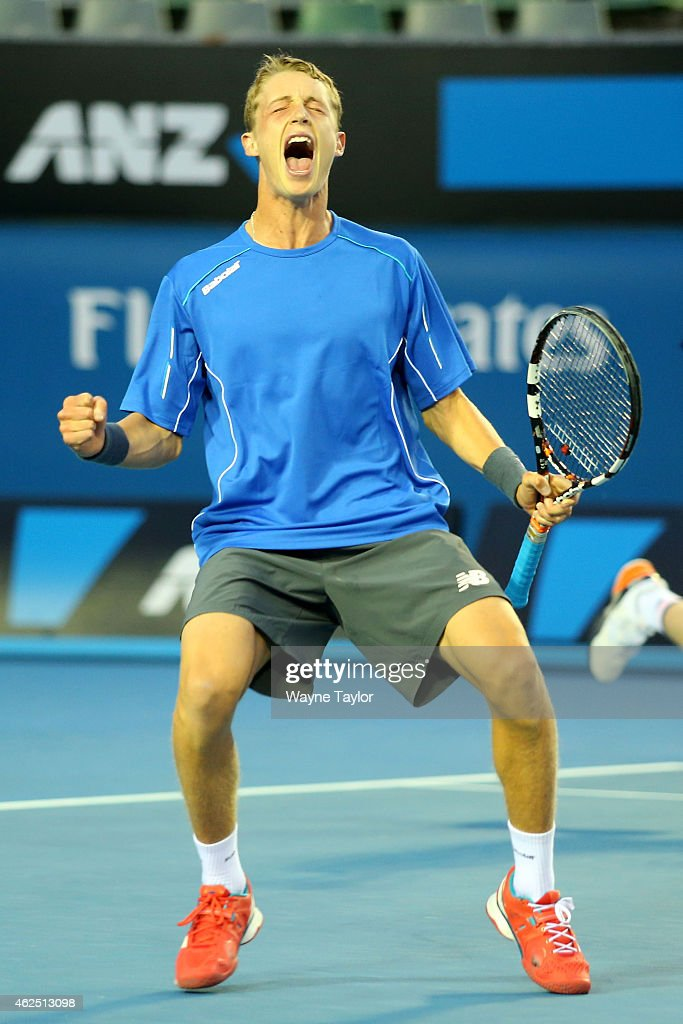 Marc Polmans of Australia celebrates winning their Junior Boys' Doubles Final with Jake Delaney of Australia against Hubert Hurkacz of Poland and Alex Molcan of Slovakia during the Australian Open 2015 Junior Championships at Melbourne Park on January 30, 2015 in Melbourne, Australia.