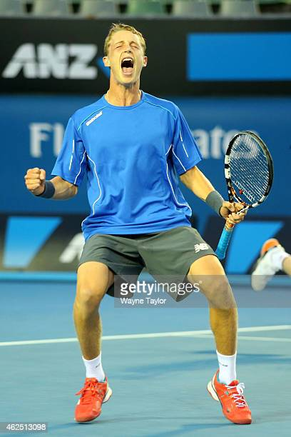 Marc Polmans of Australia celebrates winning their Junior Boys' Doubles Final with Jake Delaney of Australia against Hubert Hurkacz of Poland and...
