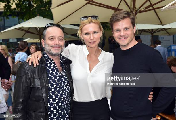Marc Popp Veronica Ferres and Benjamin Herrmann attend the FFF reception during the Munich Film Festival 2017 at Praterinsel on June 29 2017 in...