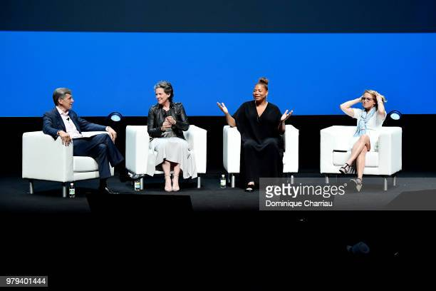Marc Pritchard Madonna Badger Queen Latifah and Katie Couric speak onstage during the PG session at the Cannes Lions Festival 2018 on June 20 2018 in...