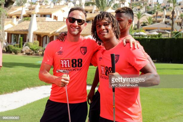 Marc Pugh and Nathan Ake of Bournemouth during a team bonding game of mini-golf at their training camp at La Manga, Spain on July 11, 2018 in La...
