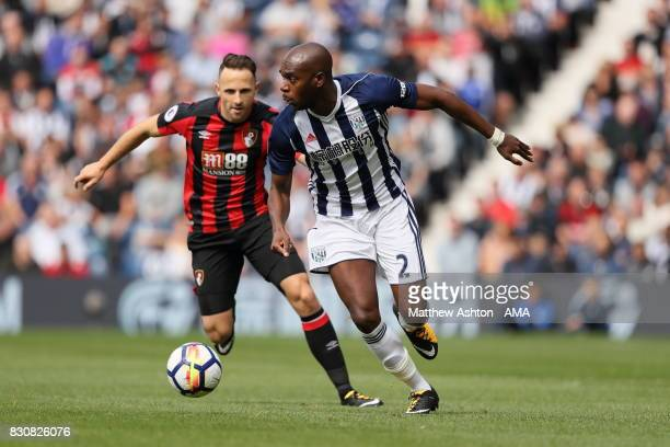 Marc Pugh of AFC Bournemouth and AllanRomeo Nyom of West Bromwich Albion during the Premier League match between West Bromwich Albion and AFC...