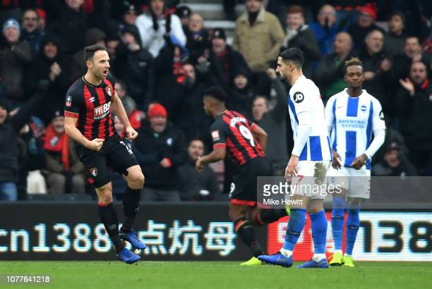 Marc Pugh of AFC Bournemouth celebrates after scoring his team's first goal during the FA Cup Third Round match between AFC Bournemouth and Brighton...
